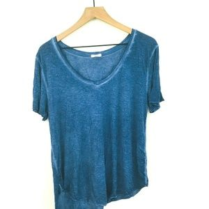 BP Nordstrom V-Neck Blue Burnout Tee